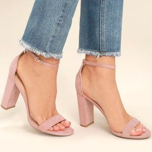 Lulu's Taylor Blush Suede Ankle Strap Heels Size 9